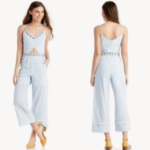 NWOT Moon River Embroidered Stripe Jumpsuit